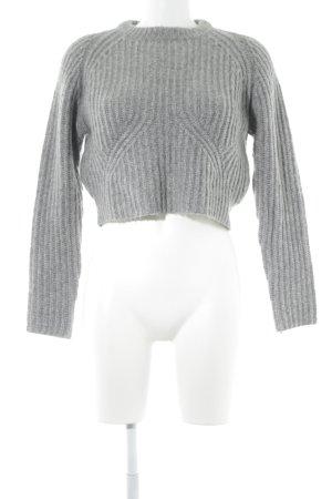 Zara Knit Rundhalspullover grau Casual-Look