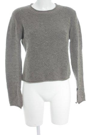 Zara Knit Maglione girocollo marrone-grigio stile romantico
