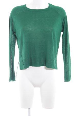 Zara Knit Jersey de cuello redondo verde look casual