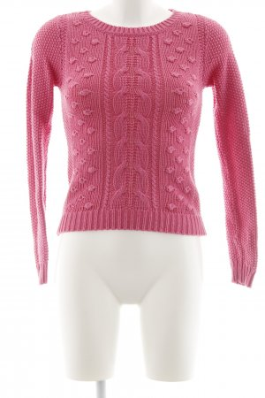Zara Knit Rundhalspullover pink Zopfmuster Casual-Look