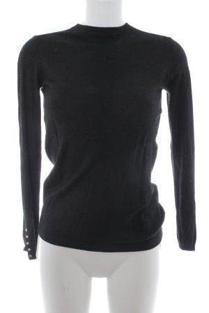 Zara Knit Rundhalspullover schwarz Business-Look