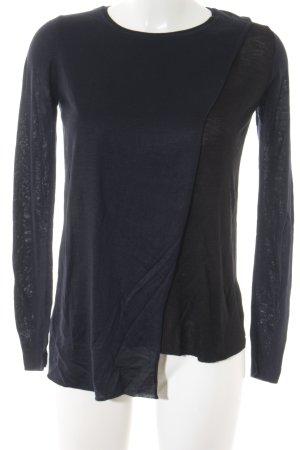 Zara Knit Crewneck Sweater black-dark blue casual look