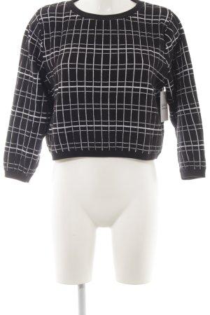 Zara Knit Rundhalspullover schwarz-weiß Karomuster Casual-Look