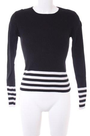 Zara Knit Rundhalspullover schwarz-weiß Streifenmuster Casual-Look