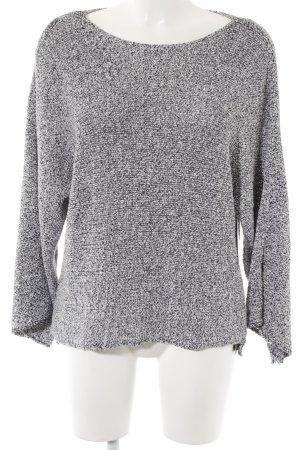 Zara Knit Rundhalspullover weiß-dunkelblau Casual-Look