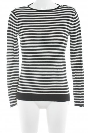 Zara Knit Rundhalspullover weiß-schwarz Ringelmuster Casual-Look