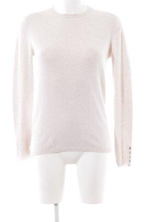 Zara Knit Kraagloze sweater wolwit-licht beige gestippeld casual uitstraling