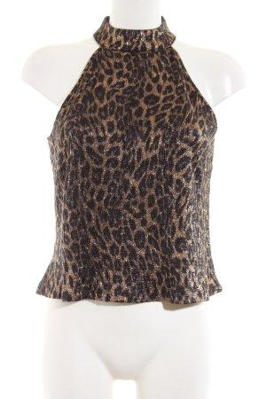 Zara Knit Off-The-Shoulder Top brown-black leopard pattern extravagant style