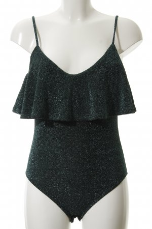 Zara Knit Shirt Body forest green-black flecked glittery