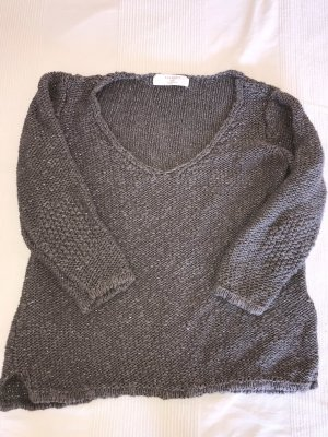 Zara Knit Sweater met korte mouwen donkergrijs-zilver