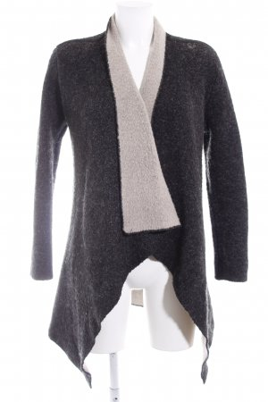 Zara Knit Strick Cardigan anthrazit-hellbeige meliert Casual-Look
