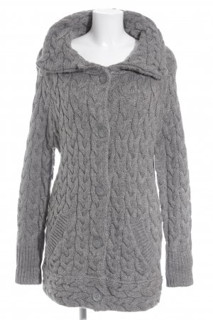 Zara Knit Strick Cardigan grau Zopfmuster Casual-Look