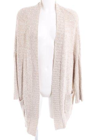 Zara Knit Strick Cardigan hellbeige-beige meliert Casual-Look