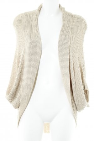 Zara Knit Strick Cardigan hellbeige-silberfarben Casual-Look
