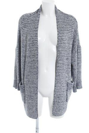 Zara Knit Strick Cardigan hellgrau-dunkelblau Lochstrickmuster Casual-Look