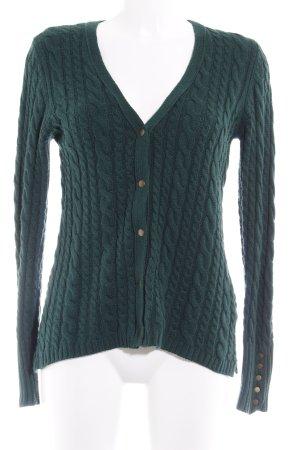 Zara Knit Strick Cardigan waldgrün Zopfmuster Casual-Look