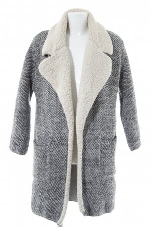 Zara Knit Strick Cardigan wollweiß-schwarz abstraktes Muster Casual-Look