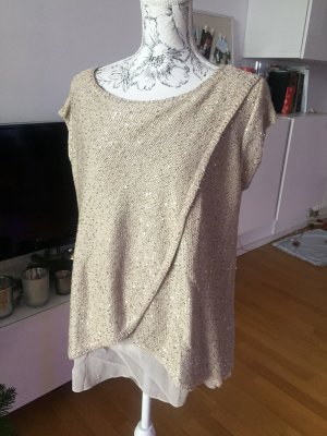 ZARA Knit Strick Top Shirt beige Gold Gr L