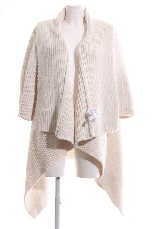 Zara Knit Strickjacke wollweiß Streifenmuster Casual-Look