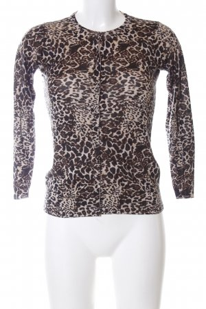 Zara Knit Strickjacke braun-wollweiß Animalmuster Casual-Look