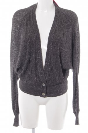 Zara Knit Strickjacke dunkelgrau-silberfarben Casual-Look