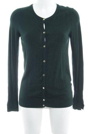 Zara Knit Strickjacke dunkelgrün Casual-Look