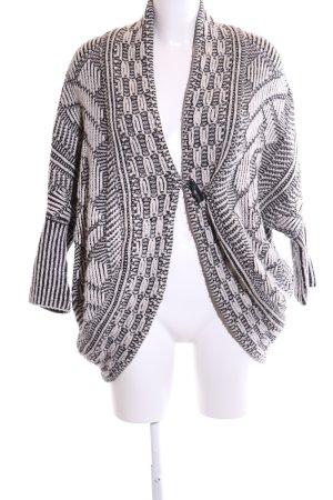 Zara Knit Strickjacke weiß-schwarz Allover-Druck Casual-Look