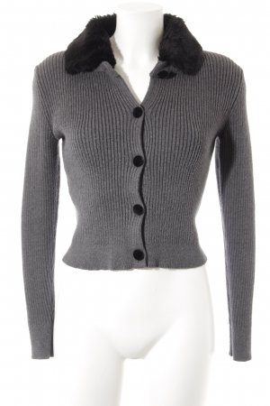 Zara Knit Strickjacke grau-schwarz Casual-Look