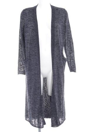Zara Knit Strickjacke graublau-schwarz meliert Casual-Look