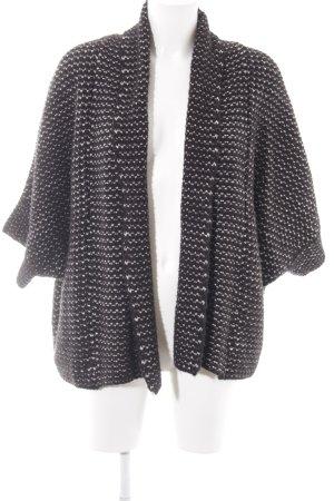 Zara Knit Strickjacke schwarz-creme College-Look
