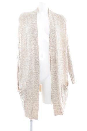 Zara Knit Strickjacke wollweiß-hellbeige Casual-Look
