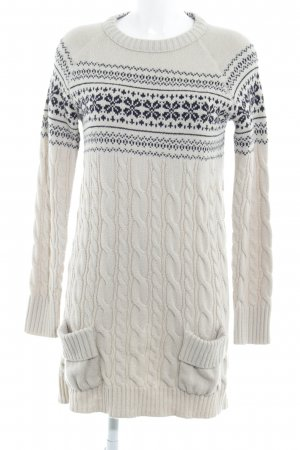Zara Knit Strickkleid beige-schwarz Blumenmuster Casual-Look