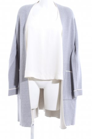 Zara Knit Strickmantel blau-weiß Casual-Look