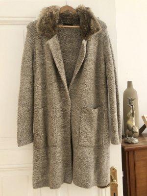 Zara Knit Wool Jacket light grey-natural white