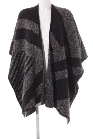 Zara Knit Gebreide poncho zwart-grijs gestippeld casual uitstraling