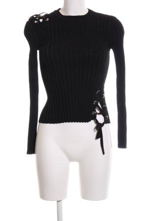 Zara Knit Strickpullover schwarz Streifenmuster Casual-Look