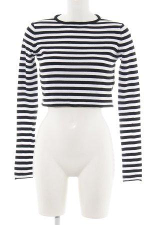 Zara Knit Strickpullover weiß-schwarz Streifenmuster Casual-Look