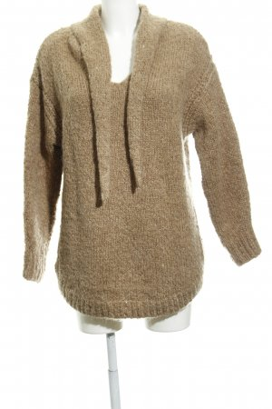 Zara Knit Strickpullover beige meliert Casual-Look