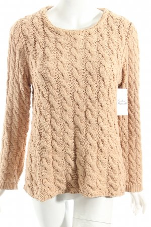 Zara Knit Strickpullover beige Zopfmuster Street-Fashion-Look