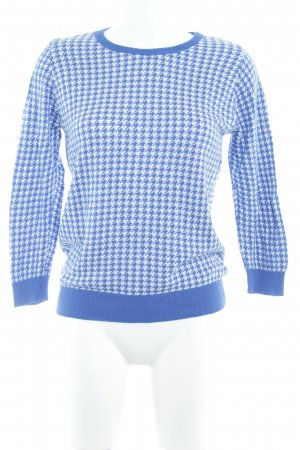 Zara Knit Strickpullover blau-weiß grafisches Muster Casual-Look