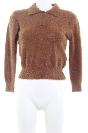 Zara Knit Strickpullover braun-cognac Casual-Look