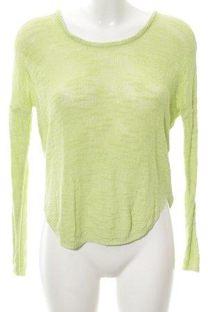 Zara Knit Strickpullover grün meliert Casual-Look