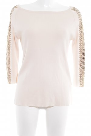 Zara Knit Strickpullover creme-goldfarben Casual-Look