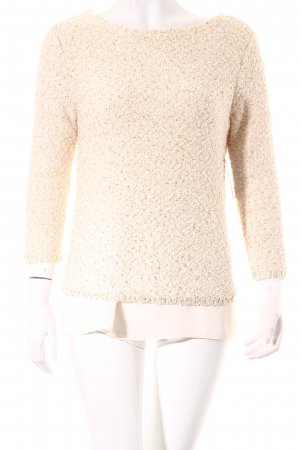 Zara Knit Strickpullover creme-goldfarben Romantik-Look