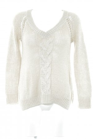 Zara Knit Strickpullover creme Zopfmuster Casual-Look