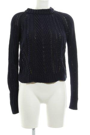 Zara Knit Strickpullover dunkelblau Lochstrickmuster Casual-Look