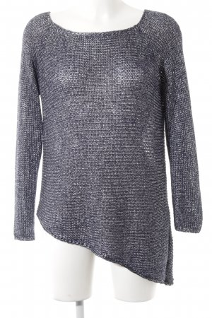 Zara Knit Strickpullover dunkelblau-silberfarben Casual-Look