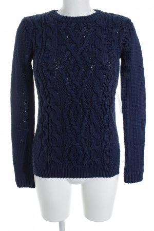 Zara Knit Strickpullover dunkelblau Webmuster Casual-Look