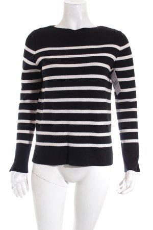 Zara Knit Strickpullover dunkelblau-weiß Streifenmuster Casual-Look