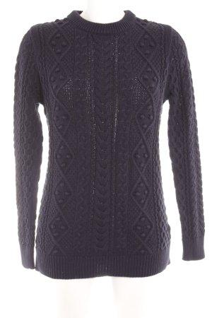 Zara Knit Strickpullover dunkelblau Zopfmuster klassischer Stil